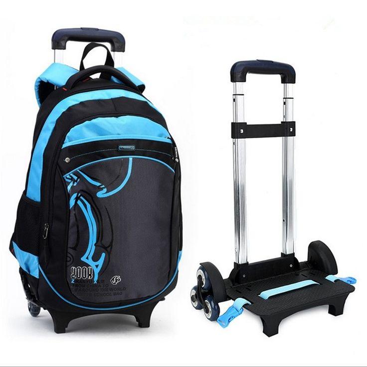 59.92$  Buy here - http://aiqyu.worlditems.win/all/product.php?id=32535202586 - Korean Style Children Backpack Kids boy Cute Detachable 3 wheels Trolley Schoolbags Fashion Girls bookbags Mochilas Escolares