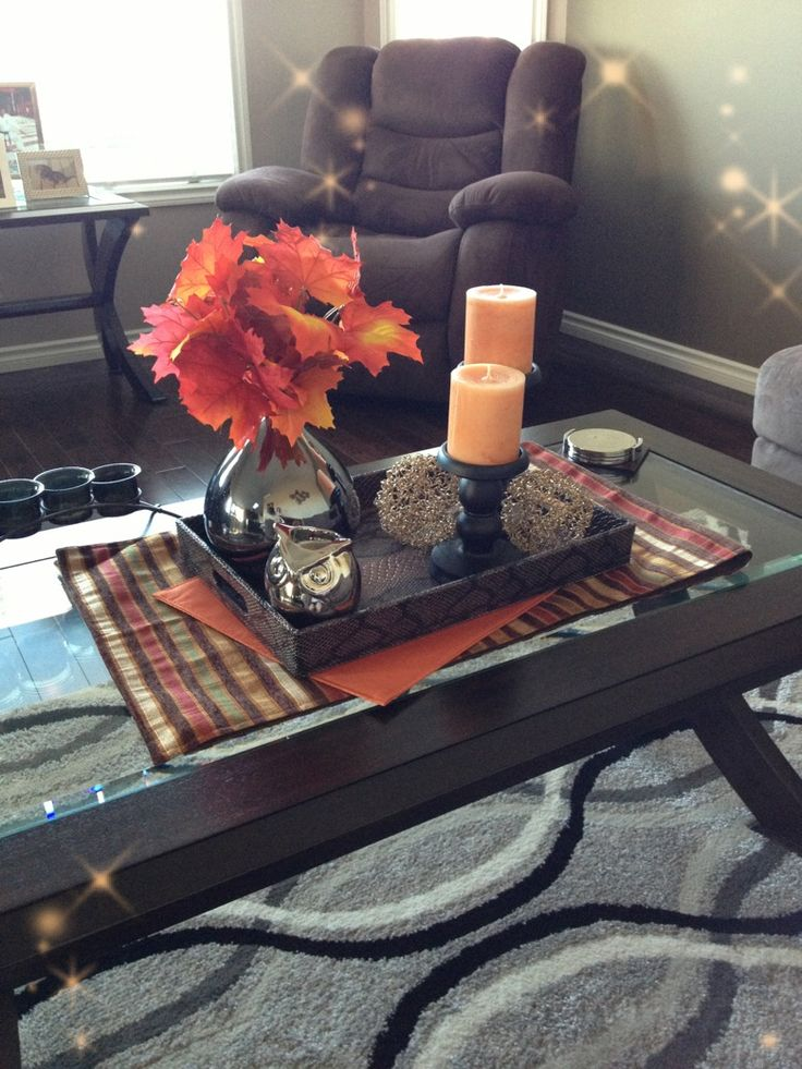 Awesome 43 Fall Coffee Table Dcor Ideas With White Wall Brown Sofa Window Candlesticks Flower And Wooden Grey