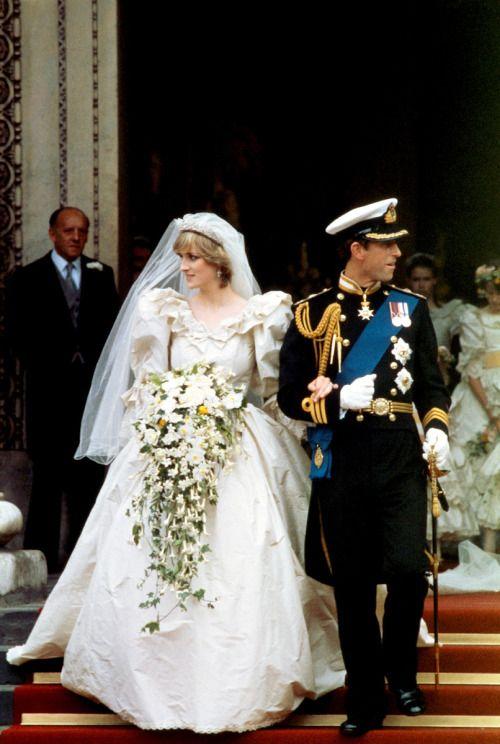 Looking opposite ways. A bad omen? Princess Diana in her David and Elizabeth Emanuel wedding dress. 1981.