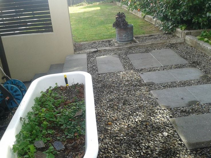 Herb garden in a bath tub :) Sprayed and weeded this walkway
