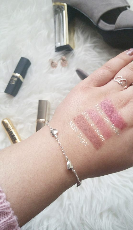 Nude lipstick swaches