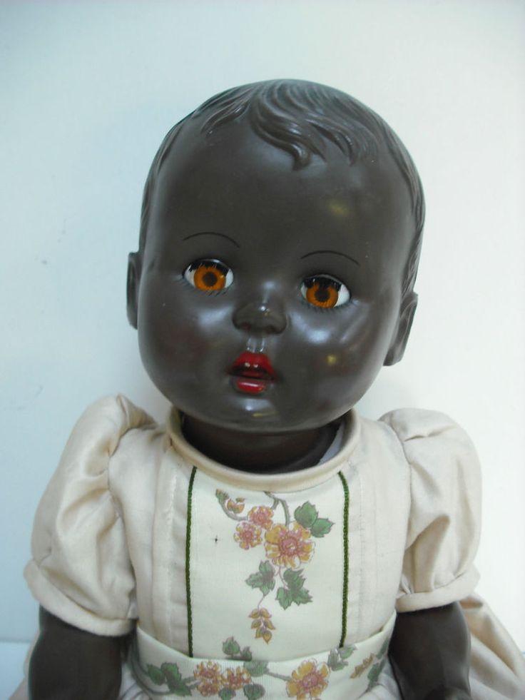 Lovely Black 16 Quot Hard Plastic Rosebud Baby Doll 1950 S