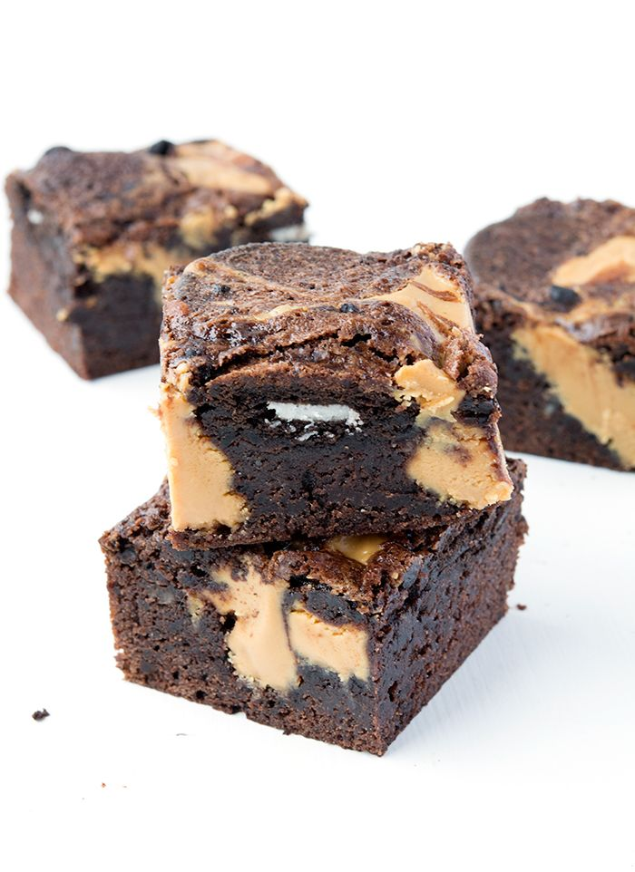 You guys are going to LOVE these Oreo Brownies! They are super fudgy and chewy, like any good brownie should be, and there are WHOLE Oreos stuffed inside! But I couldn't stop there - I also added big dollops of creamy peanut butter. Thick and chunky, these are most definitely my new favou