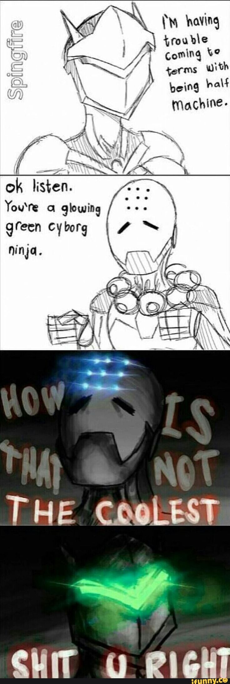 Zenyatta is just saying that because he's 100% robot and therefore 100% cool. he's looking down on Genji and Genji is feeling good about it. a true master of persuasion <.< (Favorite Meme)