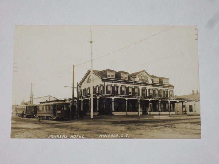Circa 1910 S Mineola Photo Postcard Of Johren Hotel And Trolley Terminus At