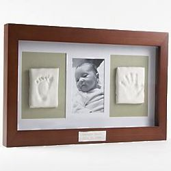 Deluxe Baby Keepsake Kit - make it myself.  Use other ornament clay pin to make hand and foot print.