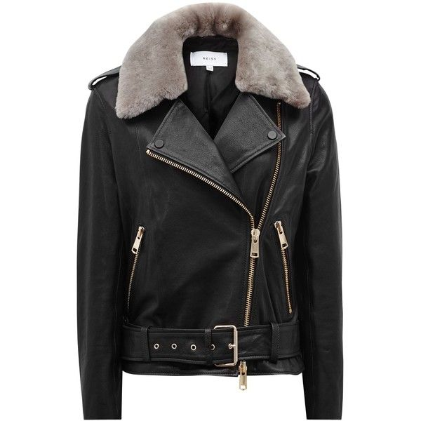 Reiss Dree Shearling And Leather Jacket, Black/Mink ($650) ❤ liked on Polyvore featuring outerwear, jackets, buckle jackets, real leather jackets, collar jacket, mink fur jacket and collar leather jacket
