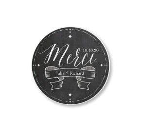 Un cadeau de remerciement personnalisé pour vos invités de mariage sur le thème ardoise. Planet-cards.com