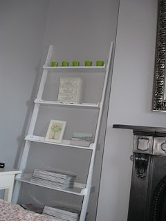 My main bedroom: Leaning book shelves from Conran Shop. http://motheach.blogspot.com