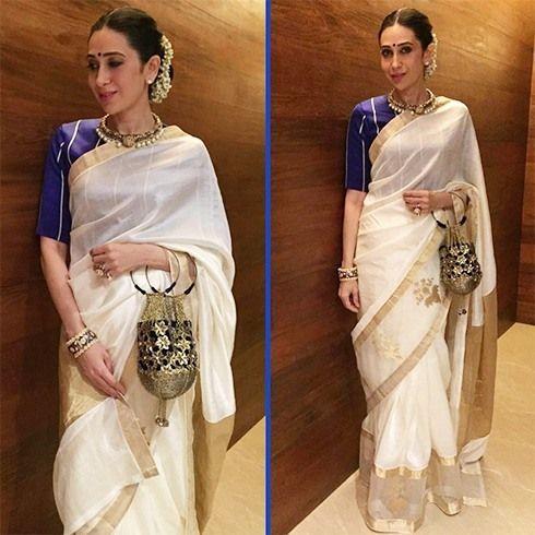 Karisma Kapoor in off white chanderi silk saree