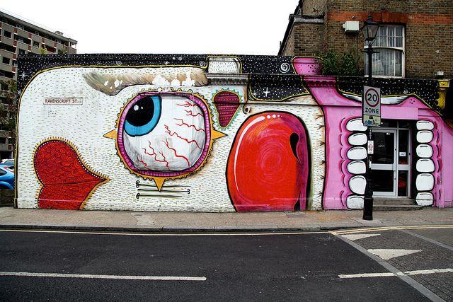 Amazing street art in East London near the Columbia Road Flower Market