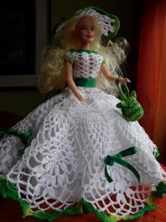 vestido barbie vestido barbie algodon hecho a mano a ganchillo