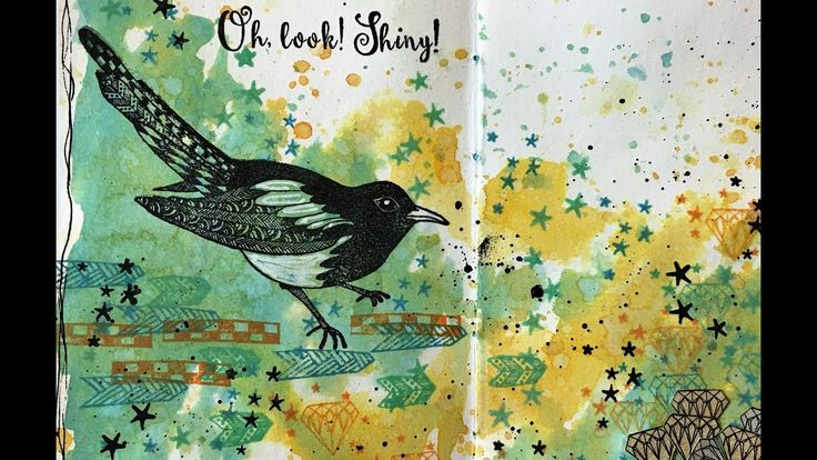 Merry Magpie, art journal spread - process video Rubber Dance Stamps and Tim Holtz Distress Oxide Inks