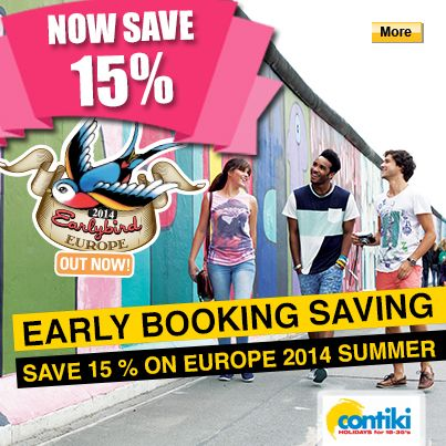 Save 15% on Contiki Europe 2014 Summer Tours. Book by 15 November #Contiki #StudentFlights