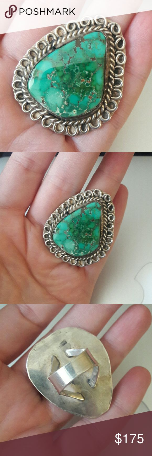 Huge Navajo Vintage Sterling Turquoise Ring Tested for Sterling, beautiful huge stone, Navajo great green stone with copper veins. Vintage Jewelry Rings