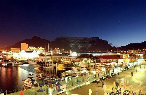 Cape Town Waterfront at night.