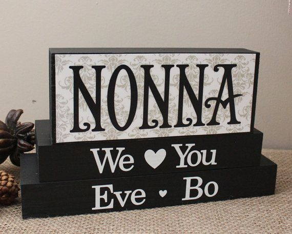 Personalized Gift for Nonna - Grandma Christmas Gift - Handmade Gifts for Her - Mom Birthday Present - Mothers Day Gift - Home Decor Blocks