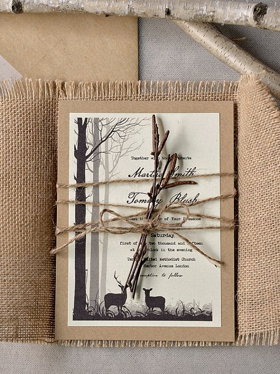 Deers in Forest Invitation, Eco Recycling  Invitations, Burlap  Wedding Invitations , Rustic Wedding invitation, Tree Invitation