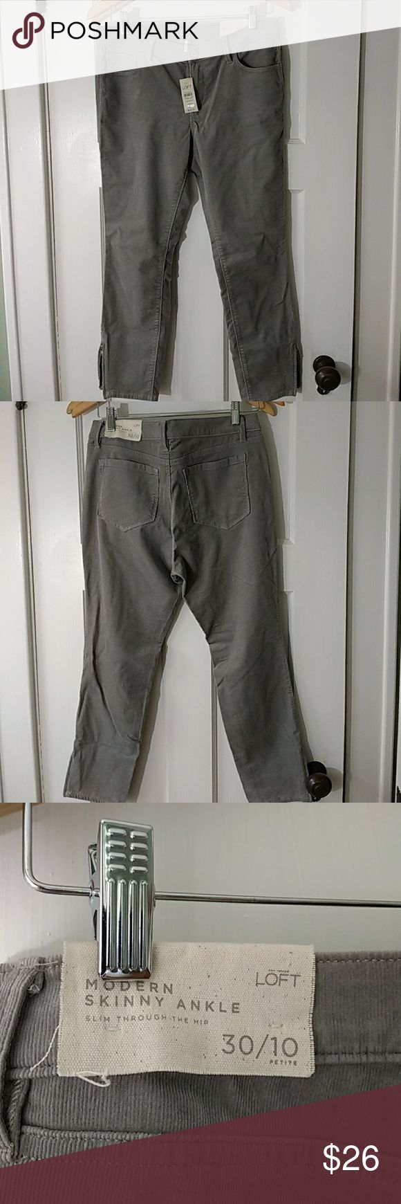 """Anne Taylor Loft skinny cords NWT. A must-have neutral for fall! These skinny ankle pants are made of a stretchy sage green pinwale courduroy, complete with ankle zips! 16"""" waistband, 24"""" inseam, 9"""" rise. Cotton/spandex blend. PETITE size. Anne Taylor LOFT Pants Ankle & Cropped"""