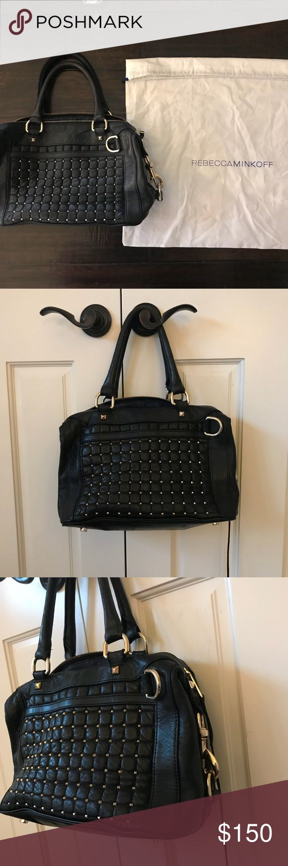Rebecca Minkoff 'MAB - Mini' Pyramid Stud Satchel A boxy satchel shaped from creamy, scuffed leather boasts a runway-ready look, accented with black-nickel pyramid studs. One of my favorite bags! Comes with dust bag. Signs of wear: inner name label slightly distorted/one of the leather tassels is halfway ripped, both pictured above. Overall in great condition! Top zip closure. Interior zip, wall and cell phone pockets. Protective metal feet. Signature lining. Leather. By Rebecca Minkoff…