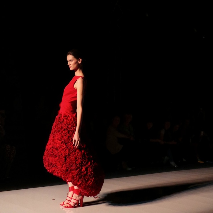 Fashion Week Poland - dress made of roses petals! Carlo Rossi