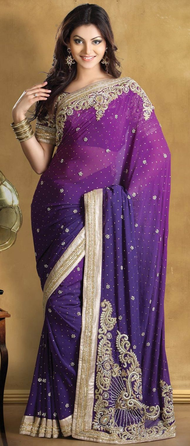 Shaded #Purple Pure Georgette #Saree With Blouse @  $536.68   Shop @ http://www.utsavfashion.com/store/sarees-large.aspx?icode=skk13448