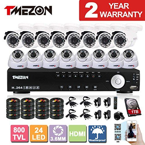 Special Offers - TMEZON 16Channel HDMI DVR CCTV Kits Security Cameras System w/ 8 Outdoor Bullet 8 Indoor Dome 800TVL Hi-Resolution Video Surveillance Cameras with 1TB Hard Drive - In stock & Free Shipping. You can save more money! Check It (June 18 2016 at 05:26PM) >> http://smokealarmsusa.net/tmezon-16channel-hdmi-dvr-cctv-kits-security-cameras-system-w-8-outdoor-bullet-8-indoor-dome-800tvl-hi-resolution-video-surveillance-cameras-with-1tb-hard-drive/
