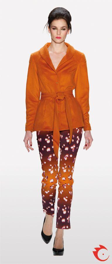 anja gockel sophisticated purple and orange pants in combination with an orange blazer