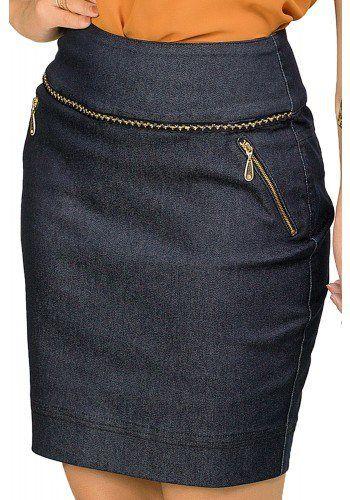 b022b1edfa saia jeans escura curta detalhes ziper sem botoes dyork viaevangelica  frente detalhe