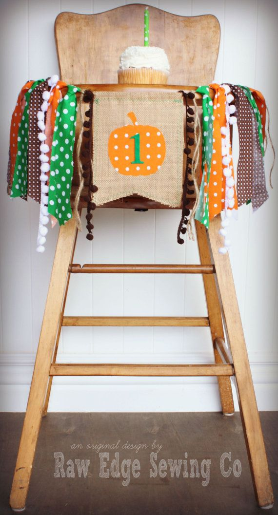 PUMPKIN Birthday Age High Chair Highchair Birthday Banner/Party/Photo Prop/Bunting/Backdrop/Chair Banner/Autumn/Cake Smash/Fall/Harvest