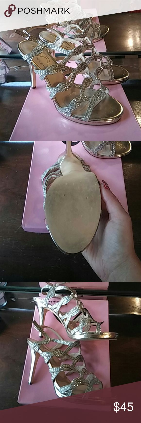 Rhinestone heels Gold with silver rhinestones Shoes Heels