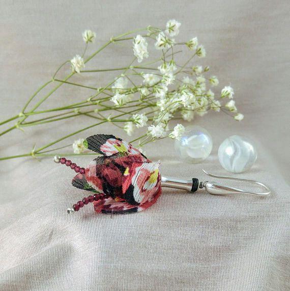 Garnet earrings flowers earrings 925 sterling silver
