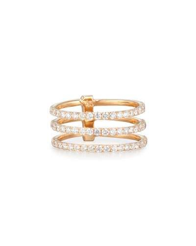 Bessa 18K Yellow Gold Ring with White & Champagne Diamond Wraps Ij6YnC