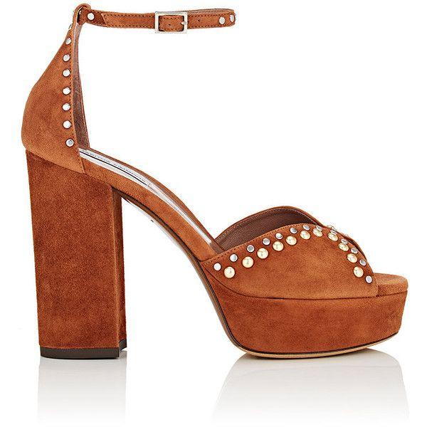 Tabitha Simmons Women's Julieta Suede Platform Sandals found on Polyvore featuring shoes, sandals, sapatos, peep toe block heel sandals, block heel ankle strap sandals, ankle wrap sandals, high heeled footwear and peep toe platform sandals