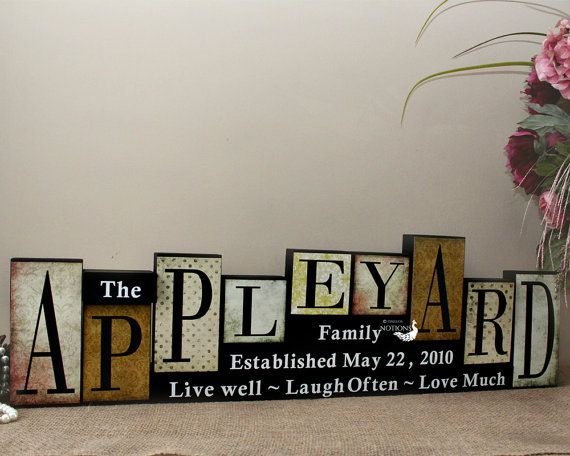 Personalized Family Name Blocks, Anniversary Gifts for Parents, Family Name Decor, Christmas Gift, Mantle Centrepiece, 9 Letters Name Sign