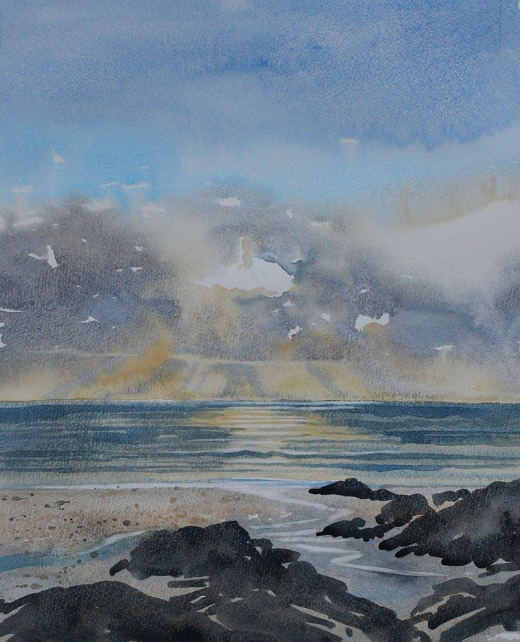 Original watercolour seascape painting Cornwall, Cornwall seascape, sunset painting, sun rays, sparkle sea, cornwall coast, Fistral by PenstoneArt on Etsy
