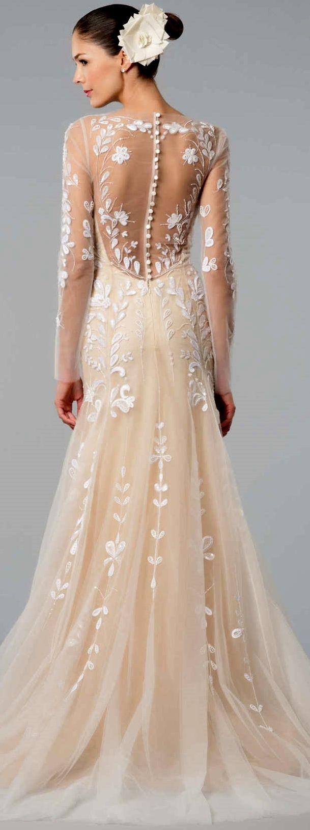 Sexy transparant back of toned sleek wedding dress - Carolina Herrera