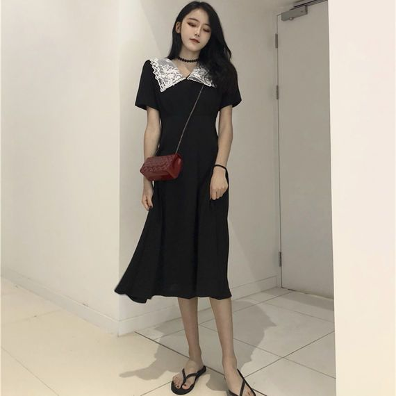 ce9aede1c6ee Lazy wind skirt summer 2018 minimalist dress female Korean version of the  temperament in the long section high waist a word skirt tide