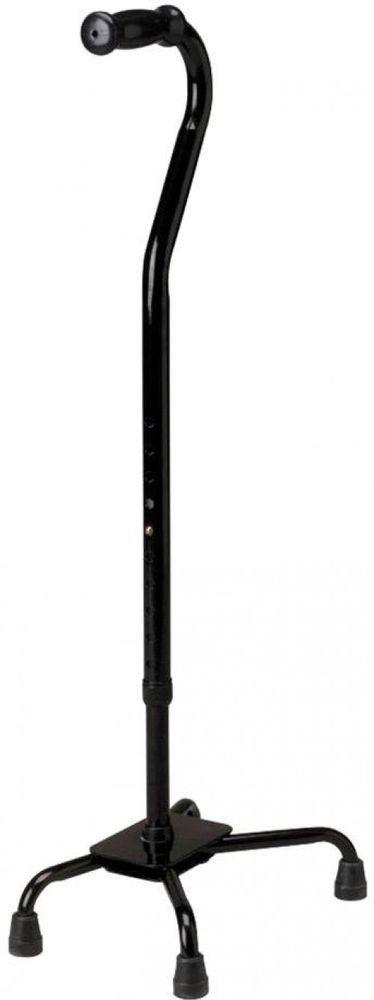 Bariatric Quad Cane Mobility Aid 500 lb. Black PVC Handgrip Adjustable Dual Tube #cane #mobility #aid