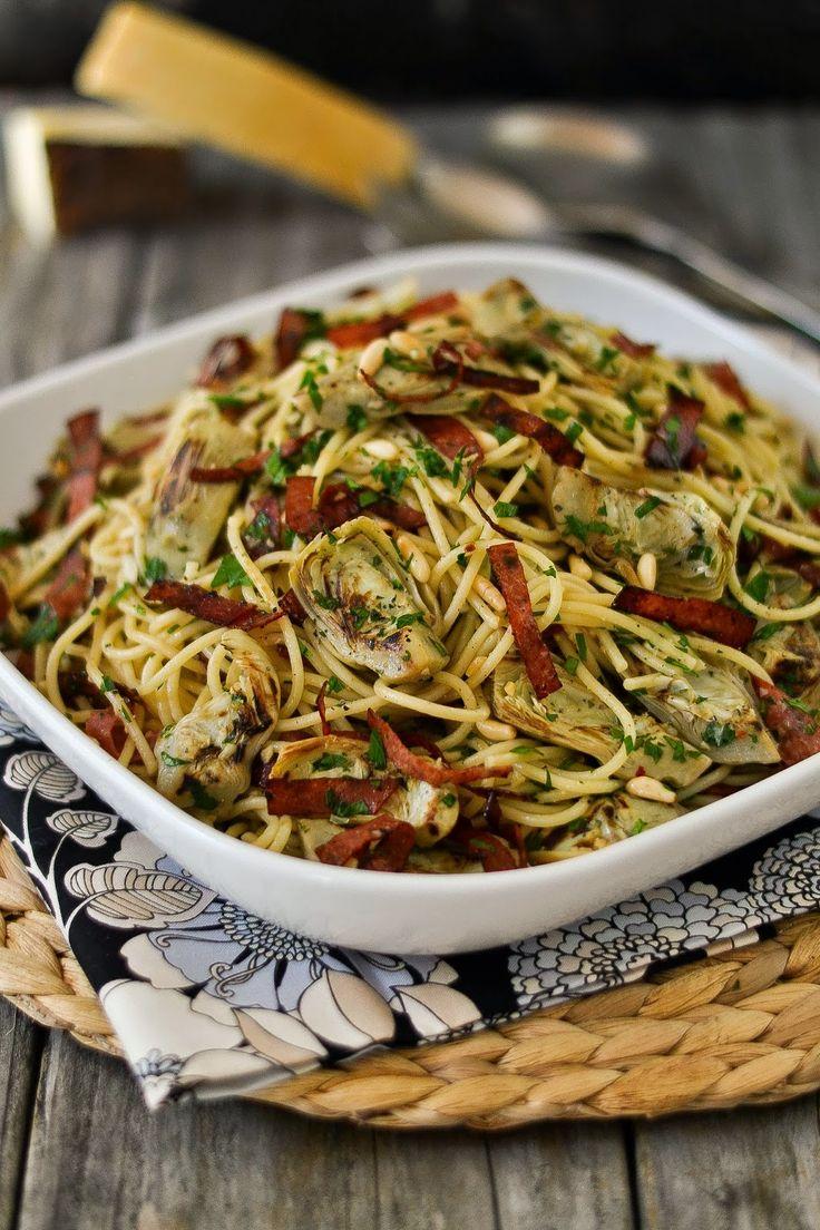 Spaghetti with Garlic and Oil (Aglio e Olio) with Artichokes, Crisped ...