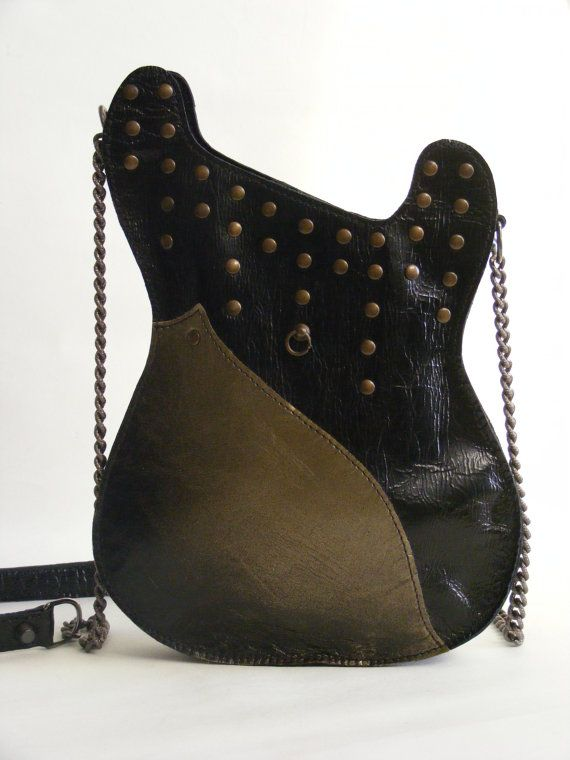 Leather purse. Black Handmade Eco Sustainable Leather Bag. Handpainted Guitar Shaped Bag. Strato Bag. Studded Purse.Bronze. MADE TO ORDER