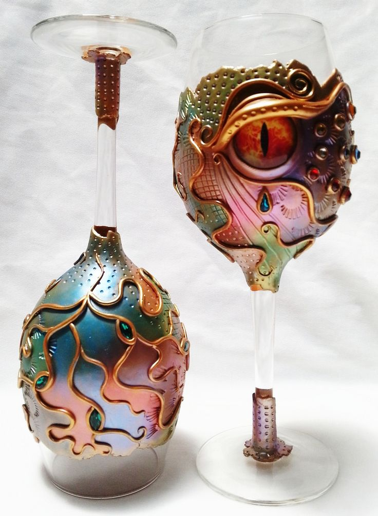 Fire Eyes Goblets | Polymer Clay Decorated Wine Glasses.