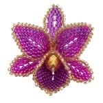 3D Orchid Brooch Bead Pattern By ThreadABead. size 11 Delica beads and Brick Stitch