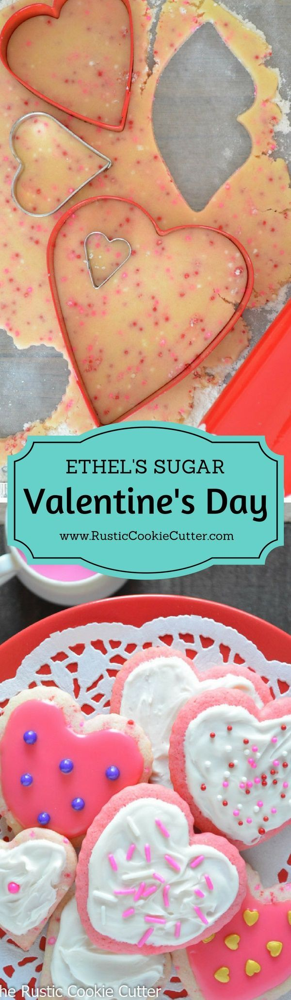 Valentine's Day Cutout Sugar Cookies by Ethel - The best sugar cookie recipe EVER!