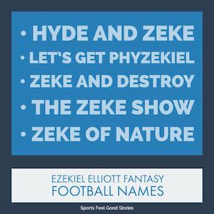 Ezekiel Elliott Fantasy Football Team Names: Good, Funny & The Best.  Plus: Tom Brady, Aaron Rodgers, Gronk, Antonio Brown, Julio Jones and many more. Dozens of lists.