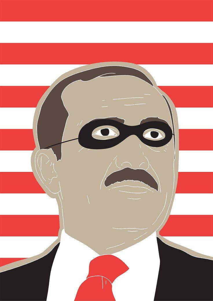 Former CIA Officials: Erdogan Covers His Criminal Tracks by Targeting Media. Turkey, criminal, Erdogan, war, portrait, conceptual, illustration, editorial, federico gastaldi, salzman international, salzmanart.com