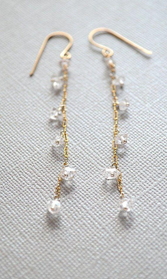Crystal quartz dangle earrings gold clear stone