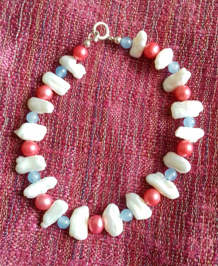 Multi-coloured Pearl and Blue Quartzite bracelet