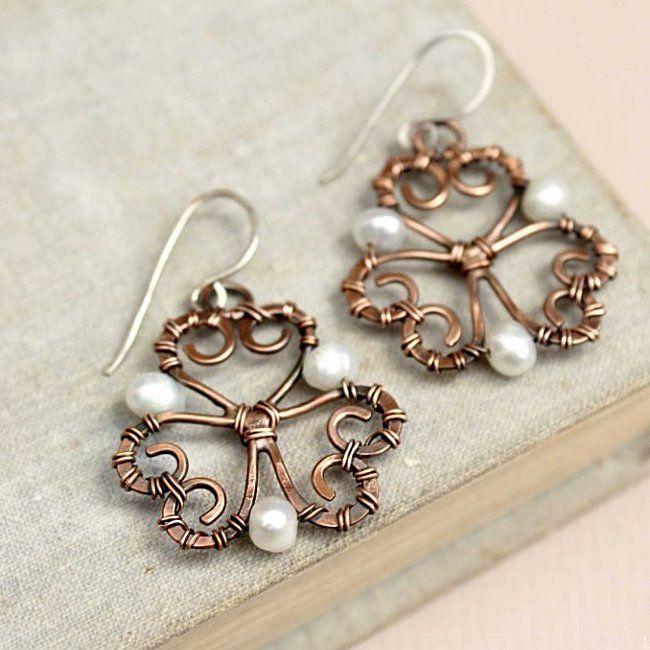 copper, handmade, wire wrap earrings
