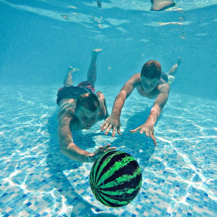 Watermelon Ball  Get your UNDERWATER game on!  Neutrally buoyant! Looks, feels, and behaves like a watermelon in water! Dribble, Kick, Intercept! Pass up to 10 feet under water! Bounce against pool walls!